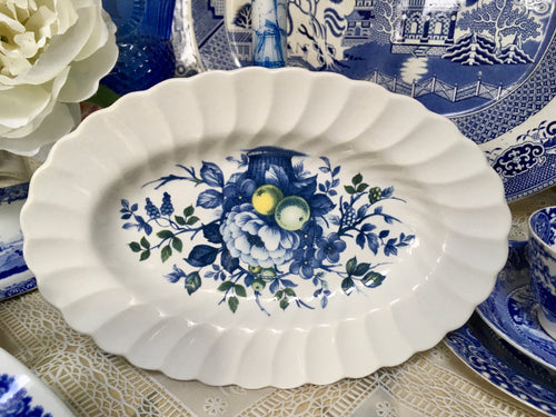 Myott, Claremont, Floral, Blue and white Ironstone oval dish.