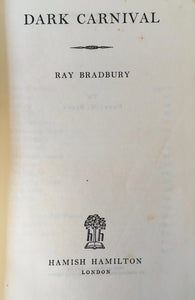 Rare, Book, Dark Carnival, Ray Bradbury, First Published in Great Britain c1948