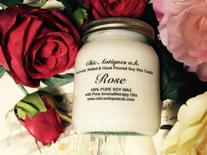 Rose. Pure Soy Wax Candles. 12oz (Large).  Aromatherapy Essential Oils