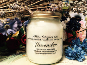 Lavender. Pure Soy Wax Candles. 12oz / 345ml (Large).  Aromatherapy Essential Oils