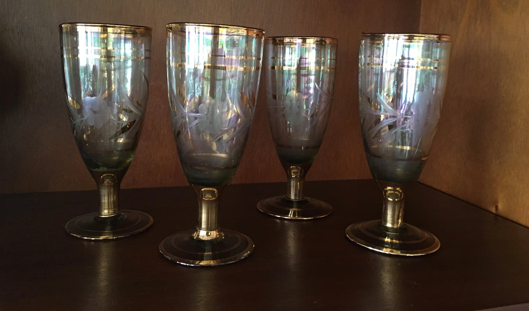 Antique Gold Stemmed Wine Glasses