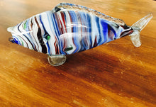 Load image into Gallery viewer, Murano, Hand Blown Glass, Fish Sculpture Vase, Blue