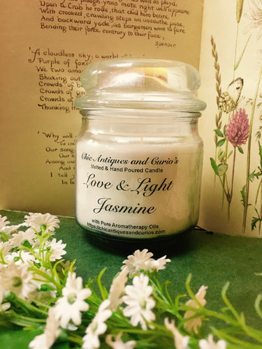 Jasmine with sweet peony. Love and Light Candle collection.