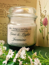 Load image into Gallery viewer, Jasmine with sweet peony. Love and Light Candle collection.