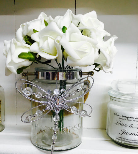 Vase with Artificial White Roses, Dragonfly, Home is Happiness
