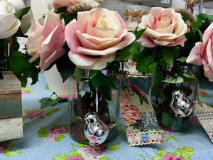 Vase with Artificial Pink Roses, twinkling Bird, Home is Happiness