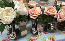 Load image into Gallery viewer, Vase with Artificial Pink Roses, twinkling Bird, Home is Happiness