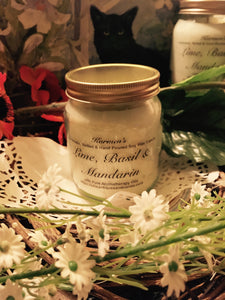 Lime, Basil & Mandarin, Pure Soy Wax Candle. 12oz / 345ml (Large). Aromatherapy Essential Oils