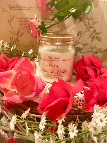 Rose, Pure Soy Wax Candle. 12oz / 345ml (Large). Aromatherapy Essential Oils