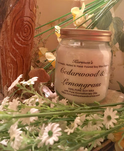Cedarwood. Lemongrass. Pure Soy Wax Candle. 12oz / 345ml (Large). Aromatherapy Essential Oils