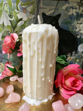Load image into Gallery viewer, Moonstone, Love Spell Candle, Pillar Candle, Pre-Dripped Candle, Soy Wax, Beeswax, Magick Candle