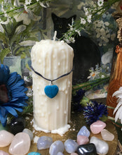 Load image into Gallery viewer, Love Spell Candle, Pillar Candle, Pre-Dripped Candle, Soy Wax, Beeswax, Turquoise Heart, Magick Candle,