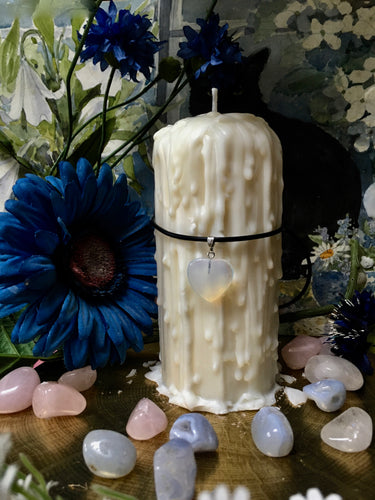 Moonstone, Love Spell Candle, Pillar Candle, Pre-Dripped Candle, Soy Wax, Beeswax, Magick Candle
