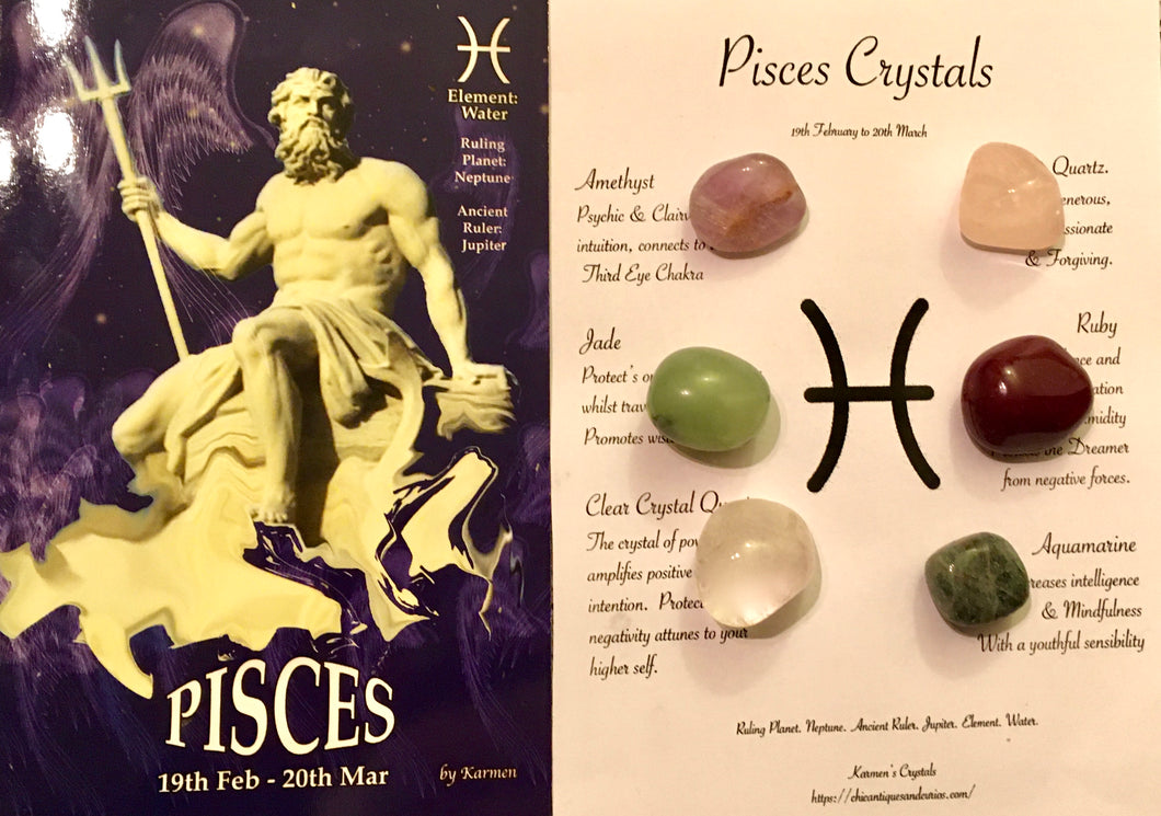 Pisces Birthstones Crystal Set, Pisces Zodiac Sign