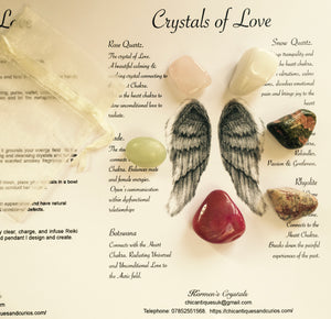 Crystals of Love Set. Crystals of Protection.  Crystals for the Heart. Angel Wings.