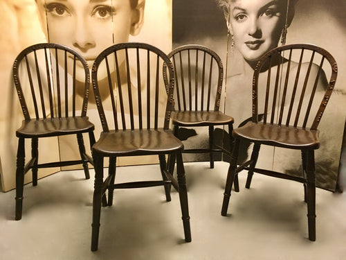 Antique Furniture, Windsor Chairs, Four Set, Victorian c.1890.