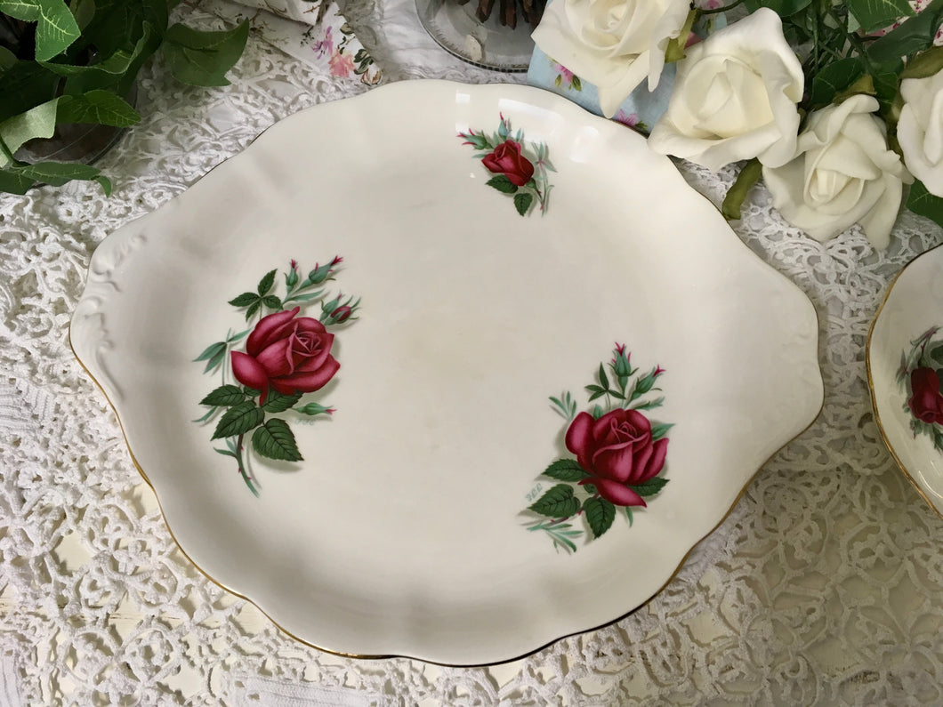 Royal Albert, Red Rose, Sandwich Plate signed by the artist FF Errill c.1950
