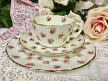 Load image into Gallery viewer, Hammersley & Co., vintage rose buds tea cup trio set c.1940s