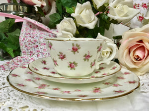 Hammersley & Co., vintage rose buds tea cup trio set c.1940s