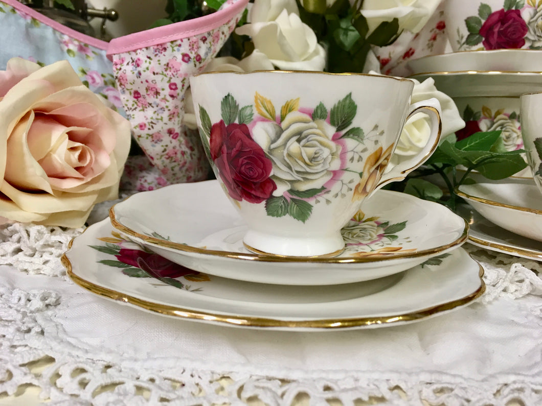 Crown Royal, vintage rose tea cup trio set c.1930s