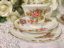 Load image into Gallery viewer, Vale, Staffordshire vintage pretty pink flowers, tea cup trio set. c.1960s