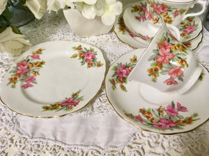 Vale, Staffordshire vintage pretty pink flowers, tea cup trio set. c.1960s