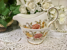 "Load image into Gallery viewer, Colclough, ""Amanda"" pattern, Autumn Flowers, Creamer and Sugar Bowl c.1960s"