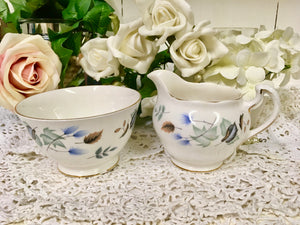 Colclough, Crisp Blue Leaves, Liden pattern, Creamer and Sugar Bowl c.1960s