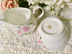 "Duchess, ""Pink Flowers, Creamer and Sugar Bowl c.1960s"