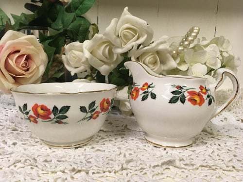 Crown Royal, Orange Roses, Creamer and Sugar Bowl c.1960s