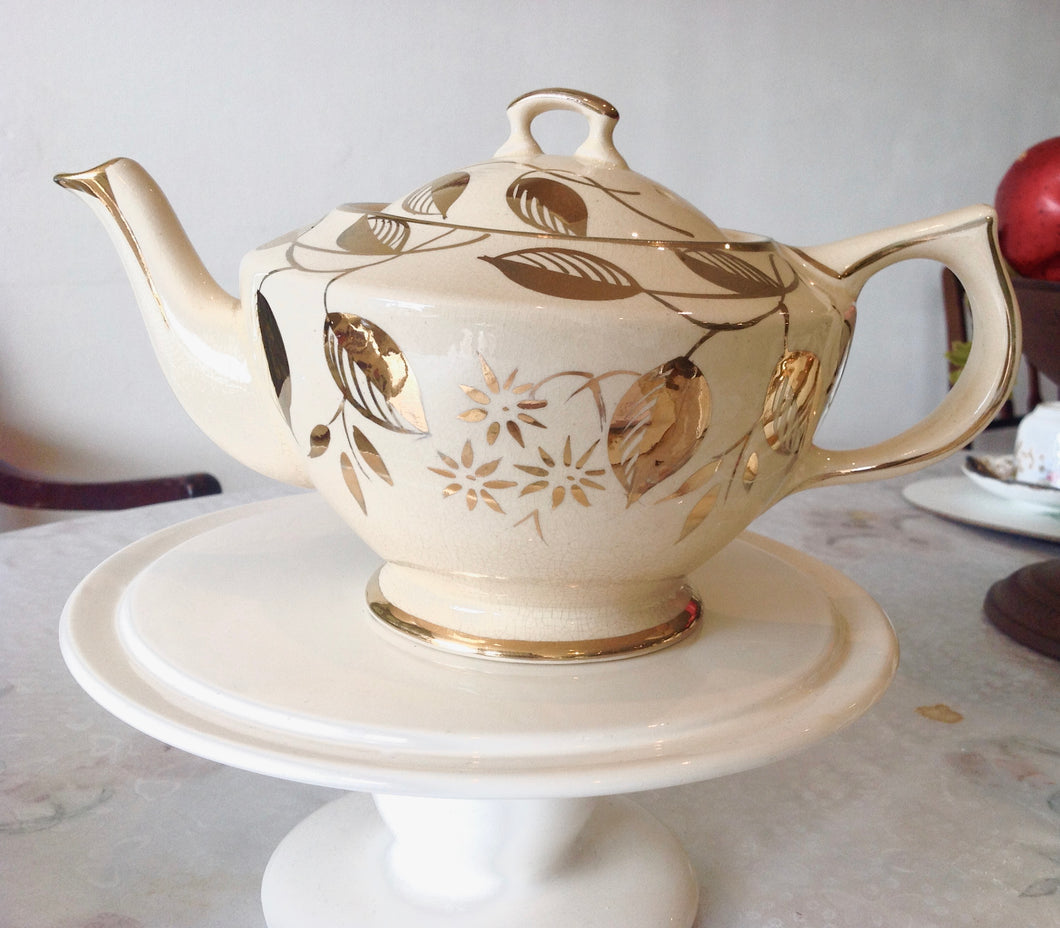 Large, Vintage, Art Deco, Gold & Cream Teapot, Price Bros. c.1934