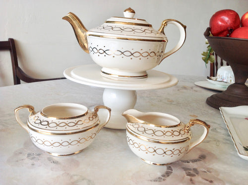 Art Deco, Vintage Teapot, Creamer and Sugar Bowl, Gold and Cream Set. c.1930s