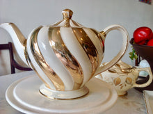 Load image into Gallery viewer, Sadler, art deco, Gold, Swirl Vintage Teapot. c.1940s