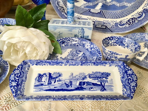 Spode, Blue and White Transfer, Mint Tray.  Italian pattern. Vintage c.1930s