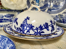 Load image into Gallery viewer, Antique, Blue and White, Brugge, Cake, Cheese Dome with plate. Adderleys,. c.1910
