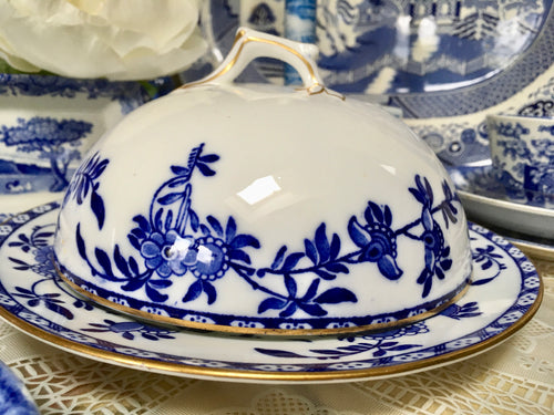Antique, Blue and White, Brugge, Cake, Cheese Dome with plate. Adderleys,. c.1910