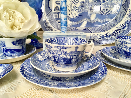 Antique, Rare, Blue and White, Tea Cup Trio Set, W. R. Midwinter, c.1910