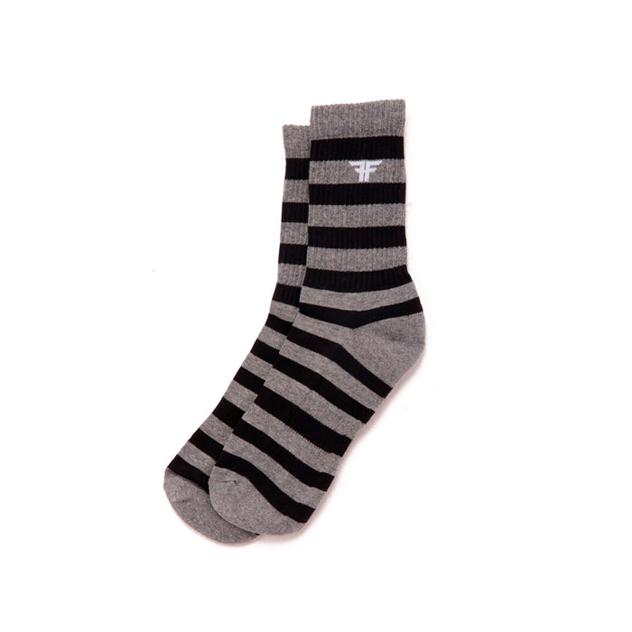 TRADEMARK STRIPED SOCK- BLACK/HEATHER GRAY - Fallenfootwear-AR
