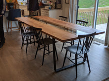 Load image into Gallery viewer, This gorgeous Cherry Fault Line Table is handmade right here in Grand Rapids Michigan and includes straight cut glass that is inset into the surface of the table!