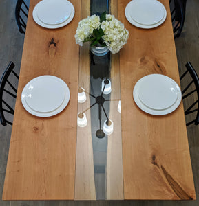 This gorgeous Cherry Fault Line Table is handmade right here in Grand Rapids Michigan and includes straight cut glass that is inset into the surface of the table!