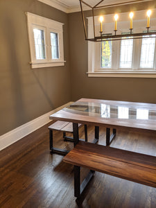 This gorgeous Fault Line Table is handmade right here in Grand Rapids Michigan and includes the optional custom cut glass that follows the unique curves of the live edge slabs.