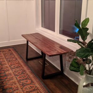 The Fault Line Bench is handmade right here in Grand Rapids Michigan, and is designed to fit in as a dining room bench, or anywhere in your home. They go well at the foot of your bed, in the guest room, or in the mud room!