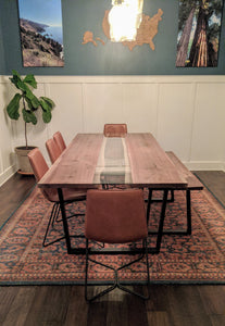 This handmade in Grand Rapids Fault Line Table has a mathcing walnut Fault Line Bench design a few inches higher for the kids to sit up to the table with the rest of the family!
