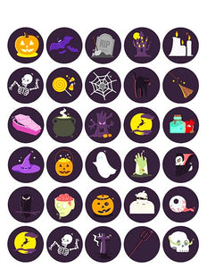 "Halloween Collection – 3.8 cm (1.5"") Cupcake Icing Sheet – 30 Toppers Per Sheet - printsoncakes"