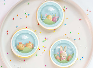 Happy Easter Bunny and Chicks Blue– 12 x 5cm Cupcake Toppers - printsoncakes