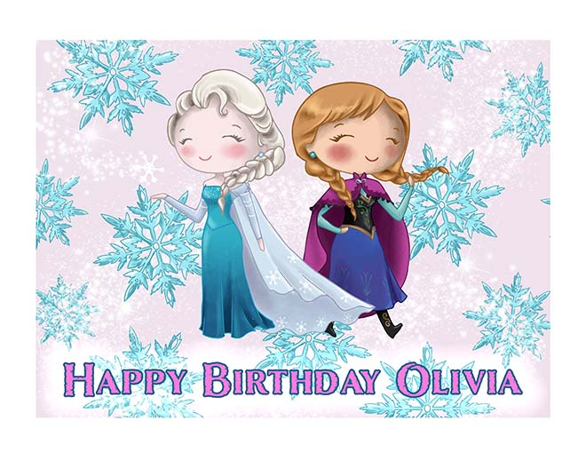 Elsa and Anna Frozen Inspired Pink Background - Custom Icing Image - printsoncakes