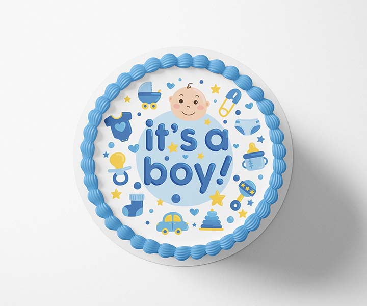 It's a Boy - Edible Icing Toppers - printsoncakes