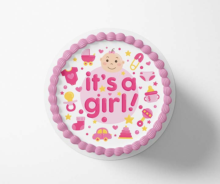 It's a Girl - Edible Icing Toppers - printsoncakes