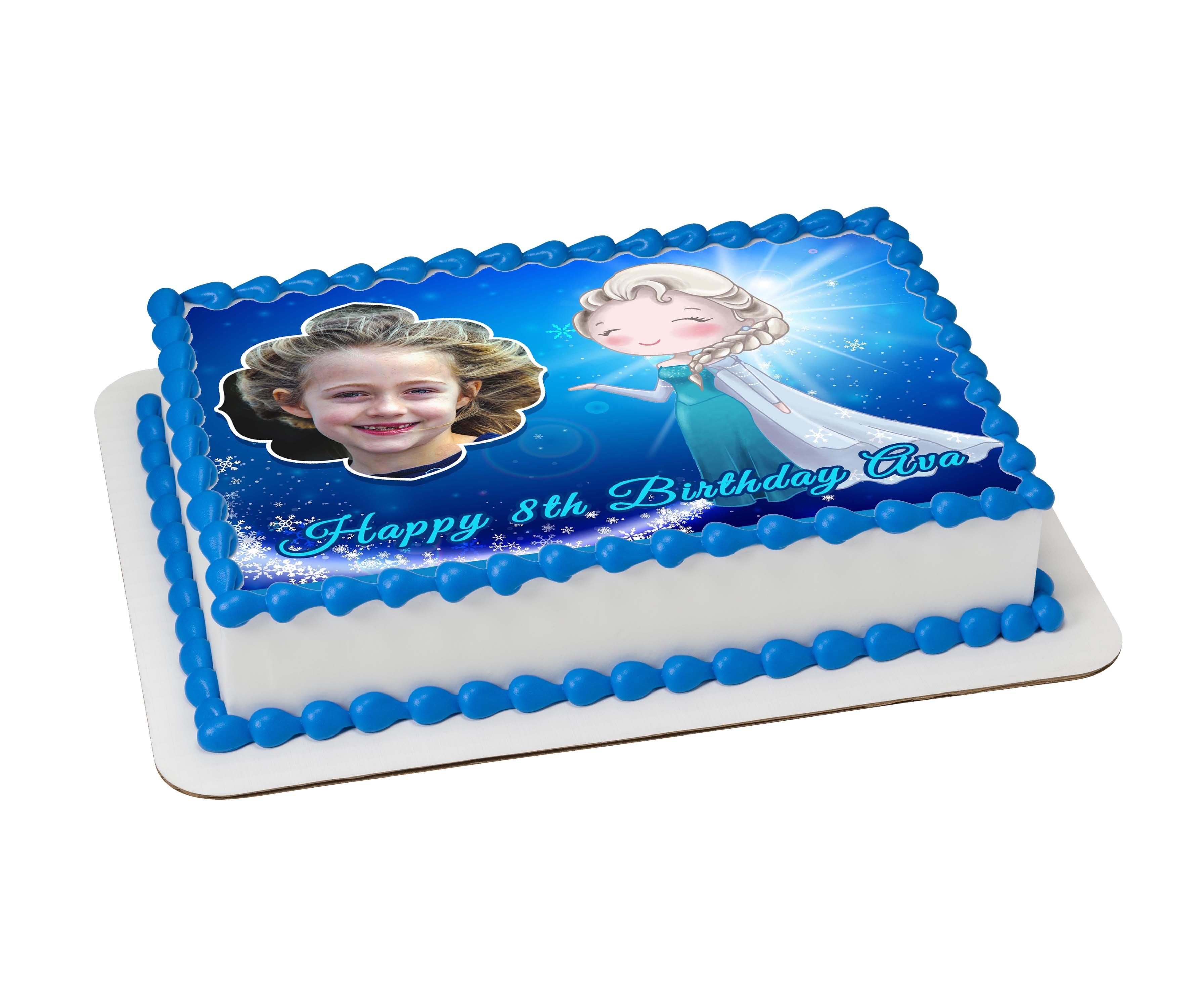 Frozen Inspired Photo Cake -  Custom Edible Icing Images - printsoncakes