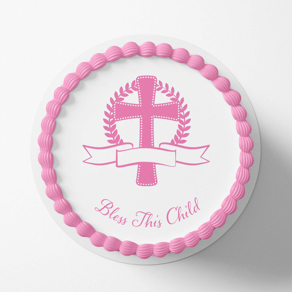 Bless This Child Pink - Edible Icing Image - printsoncakes